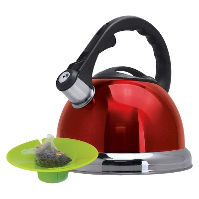 Primula Whistling Tea Kettle with Tea Bag Buddy - Red