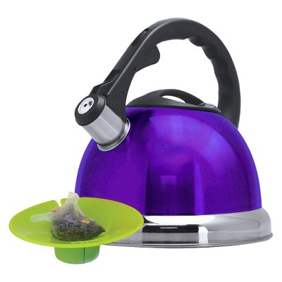 Primula Whistling Tea Kettle with Tea Bag Buddy - Purple