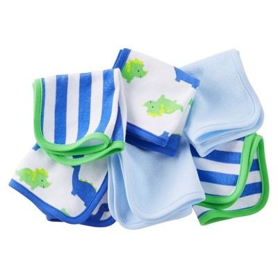 Just One You™Made by Carter's® Newborn Boys' 6 Pack Dinosaur Washcloths - Blue