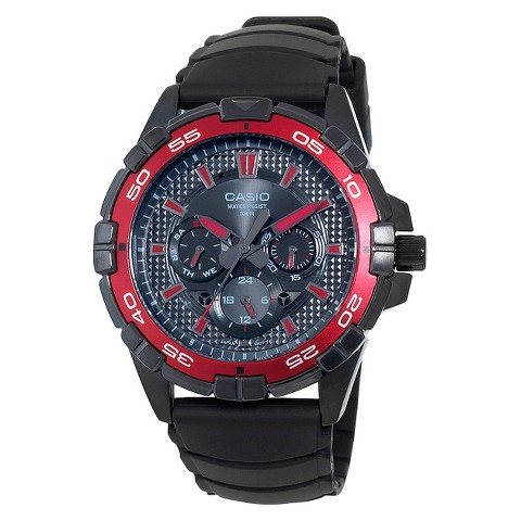 Men's Casio Analog Watch with Red Dial Accents - Black (MTD1069B-1A2)