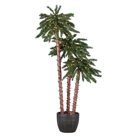 Pre-Lit Potted Palm Tree Set (4-5-6ft)