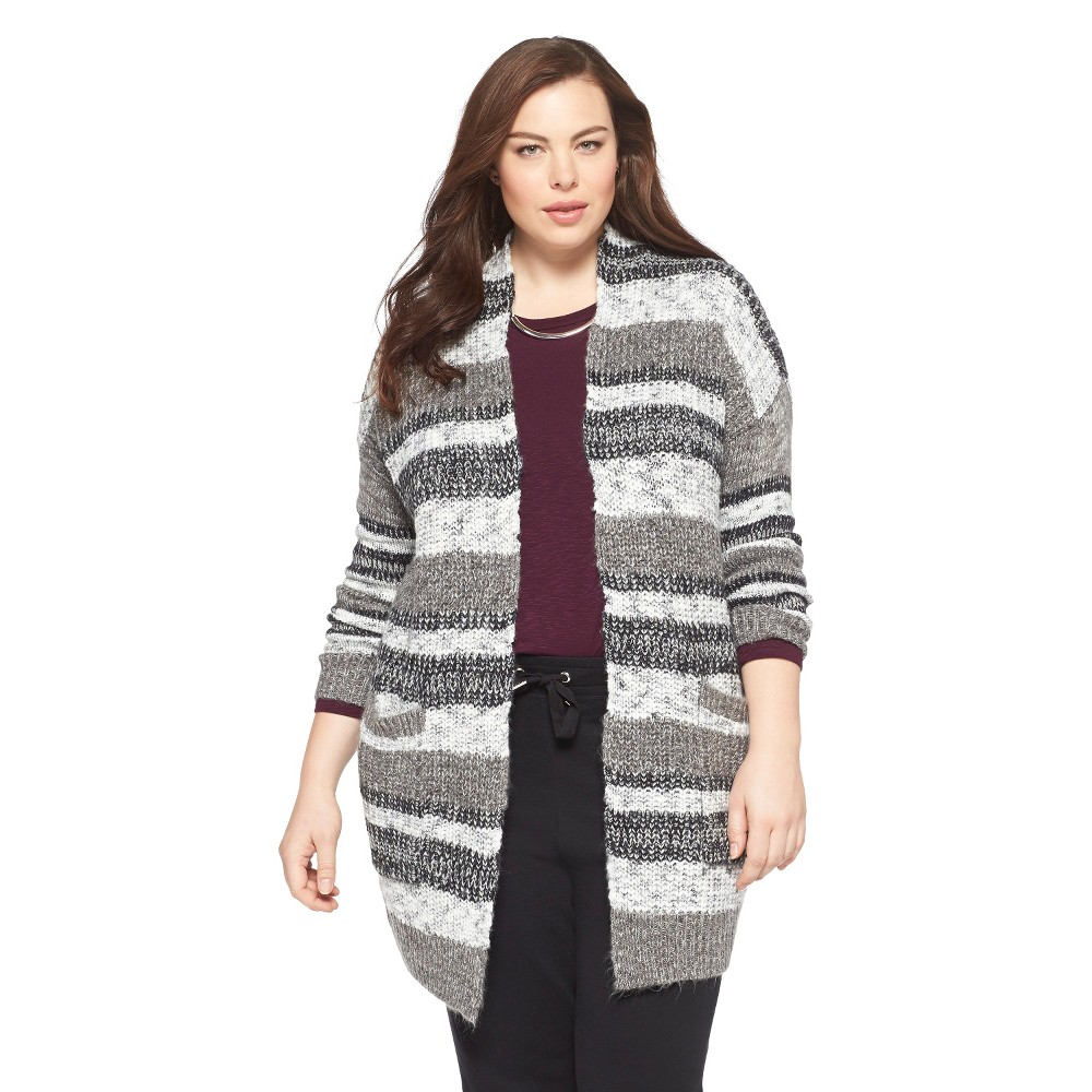 Women's Plus Size Open Cardigan Sweater Gray/Cream 1X-Mossimo