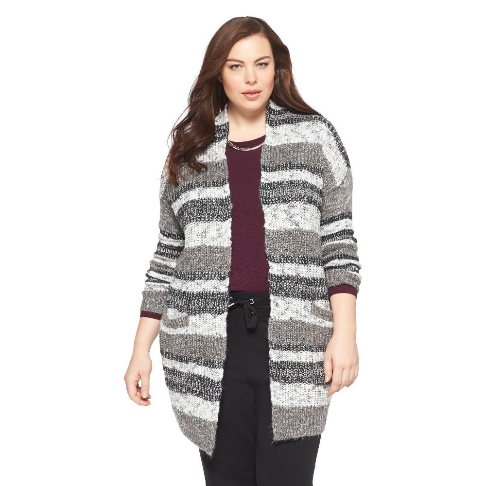 Women's Plus Size Open Cardigan Sweater Gray/Cream 1X-Mossimo
