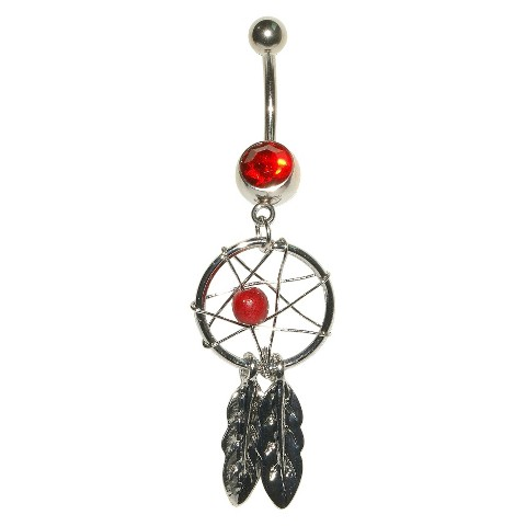 Women's Supreme Jewelry™ Curved Barbell Belly Ring with Stones - Silver/Red