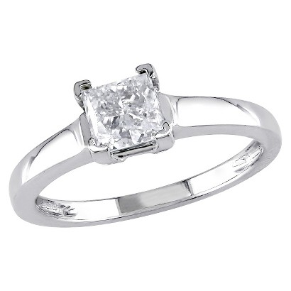 1 CT.T.W. Princess  Diamond Solitaire Ring in 14K White Gold (GH I1-I2)