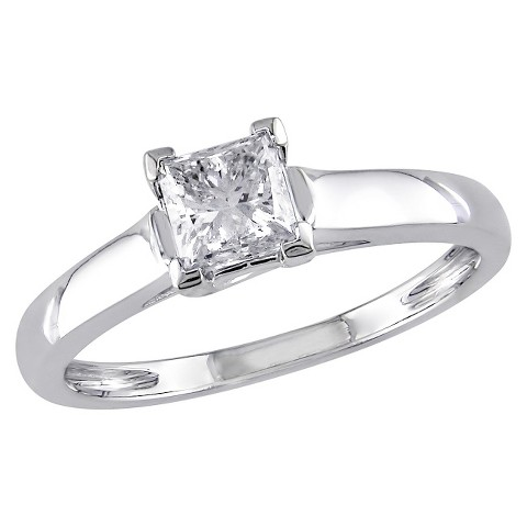 3/4 CT.T.W. Princess Diamond Solitaire 4 Prong Ring in 14K White gold  Silver