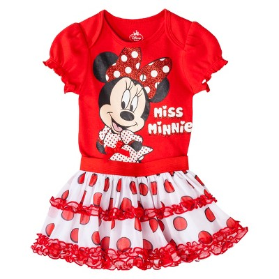 Disney® Newborn Girls' 2 Piece Minnie Mouse Bodysuit and Skirt Set - Red 0-3 M