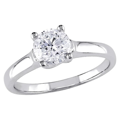 1 CT.T.W. Diamond Solitaire Four Prong Set Ring in White Gold (GH I2 -I3)
