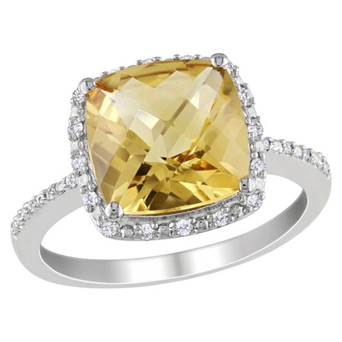 4 CT.T.W. Citrine 4 Prong & 1/10 CT.T.W. Diamond Shared Prong Ring in Sterling Silver (GH I3)