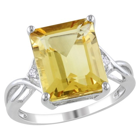 6 5/8 CT.T.W. Citrine White Topaz 4 Prong Ring in Sterling Silver