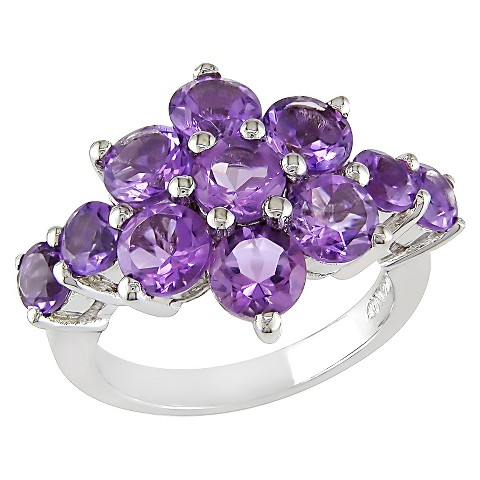 4 1/5 CT.T.W. Purple Amethyst Cluster Shared Prong Ring in Sterling Silver