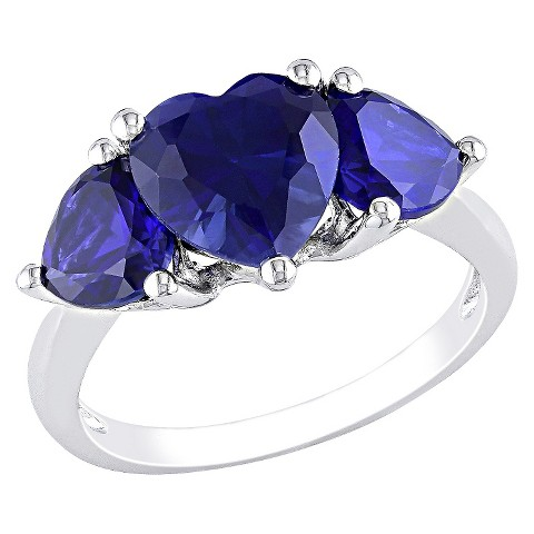4 1/10 CT. T.W. Created Sapphire 3 Prong Ring in Sterling Silver - Blue