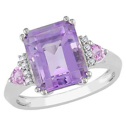 3 1/2 CT Pink Amethyst Multi Prong & .04 CT.T.W. Diamond 4 Shared Prong Ring in 10K White Gold (GH I2)