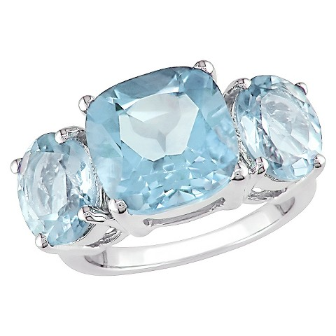 8 2/5 CT.T.W.  Blue Topaz 4 Prong Ring in Sterling Silver