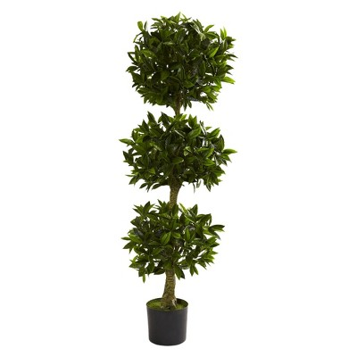 Nearly Natural 5' Triple Bay Leaf Topiary UV Resistant (Indoor/Outdoor)