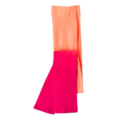 Xhilaration® Girls' Footless Tights - Pink/Orange Ombre