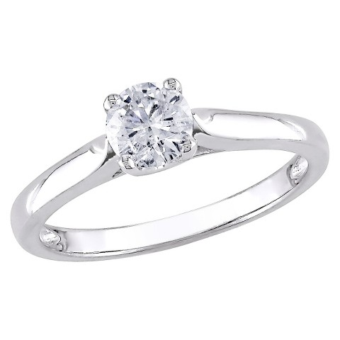 1/2 CT.T.W. Diamond Solitaire Four Prong Set Ring in White Gold (GH I2 -I3)