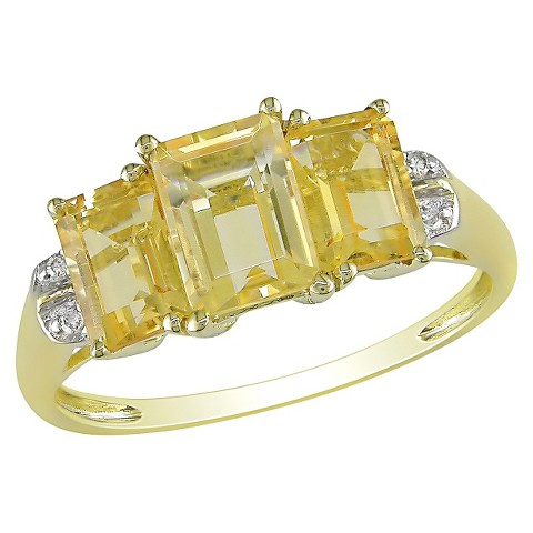 2 1/3 CT.T.W. Citrine 4 Prong & .02 CT.T.W. Diamond 4 Prong Ring 10K Yellow Gold (GH I2 -I3)