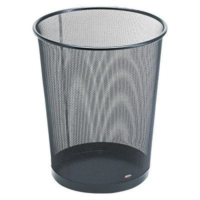 Rolodex Round Wire Mesh Wastebasket  - Black