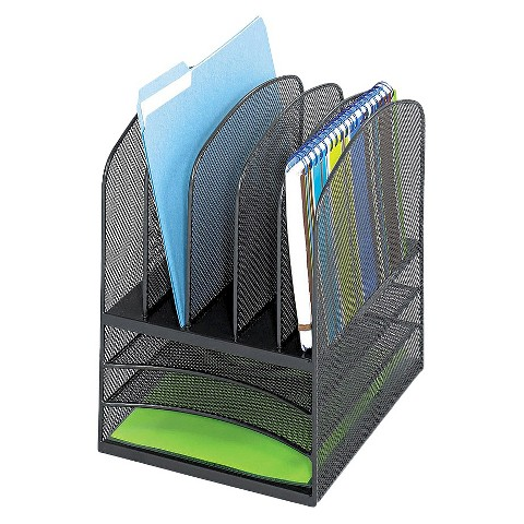 Safco® Onyx Mesh Desk Organizer with  Eight Sections - Black