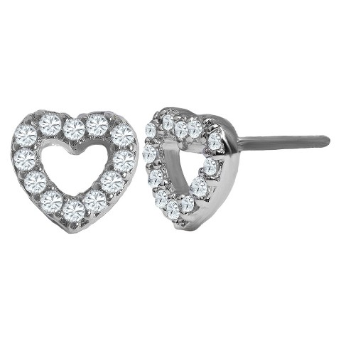 0.36 Cubic Zirconia Sterling Silver Post Earrings with Heart Shape