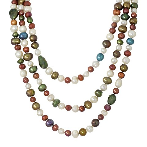 Fresh-Water Pearl Long Necklace Set in Silver Plated Metal - Multicolor