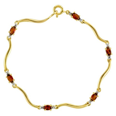 3.15 CT.T.W. Garnet and Diamond Accent Tennis Bracelet in 14K Gold over Sterling Silver