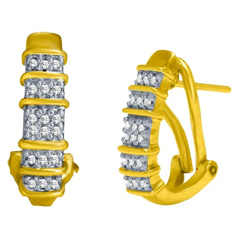 0.1 CT.T.W. Diamond Accent Huggie Post Earrings in 14K Gold over Sterling Silver