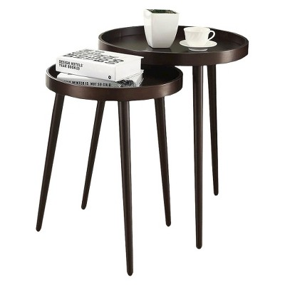 2 Piece Nesting Accent Table - Brown - Monarch Specialties