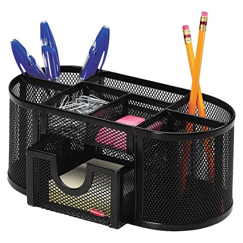 Rolodex Steel Mesh Pencil Cup Organizer with Eight Compartments - Black