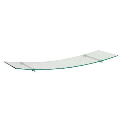 "31.5"" x 8"" Glass Swing 80 Shelf w/Silver Supports"
