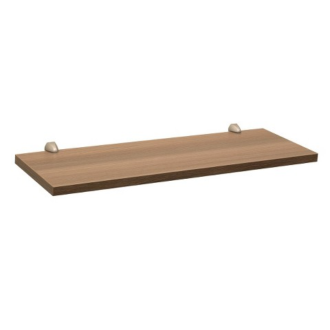 "23.5"" Driftwood Gray Wash Shelf w/Silver Supports"
