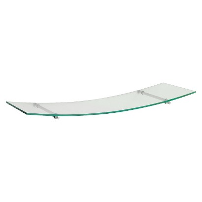 "23.5"" x 8"" Glass Swing 60 Shelf w/Silver Supports"