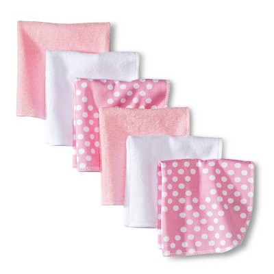 Circo® Newborn Girls' 6 Pack Washcloth Set - Pink/White