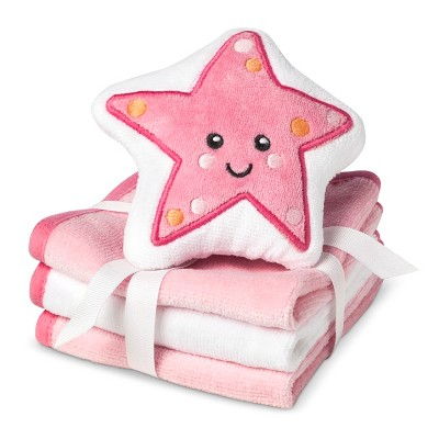 Circo® Newborn Girls' 3 Pack Wascloth Set with Scrubbie - Pink