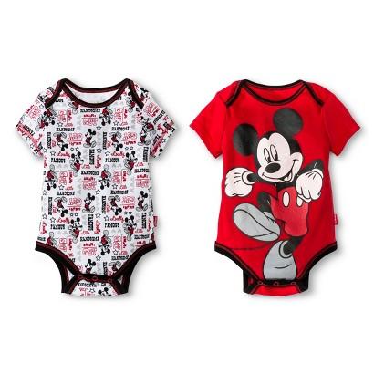 Mickey Mouse Newborn Boys' 2 Pack Bodysuit Set - Red