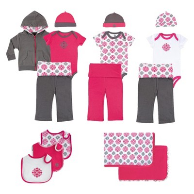Yoga Sprout™ Newborn Girls' 15 Piece Delux Gift Set - Grey/Pink 3-6 M