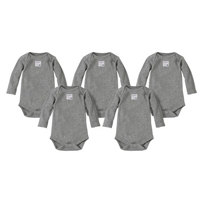 Burts Bees Baby™ Newborn Neutral 5 Pack Long-sleeve Bodysuit - Grey 12 M