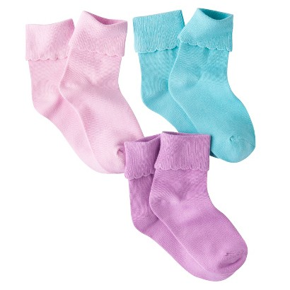Circo® Girls' 3-Pack Cuffed Ankle Sock - Assorted