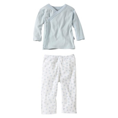 Burts Bees Baby™ Newborn Boys' 2 Piece Kimono Top and Bottom Set - Sky 3-6 M