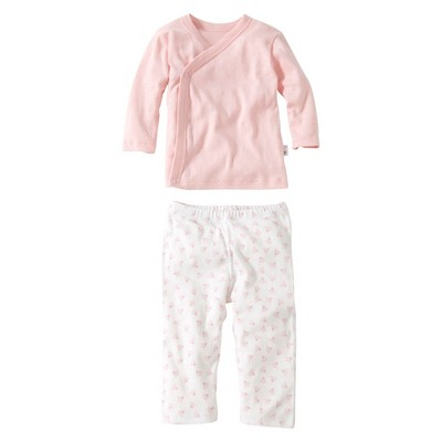 Burts Bees Baby™ Newborn Girls' 2 Piece Kimono Top and Bottom Set - Blossom 3-6 M