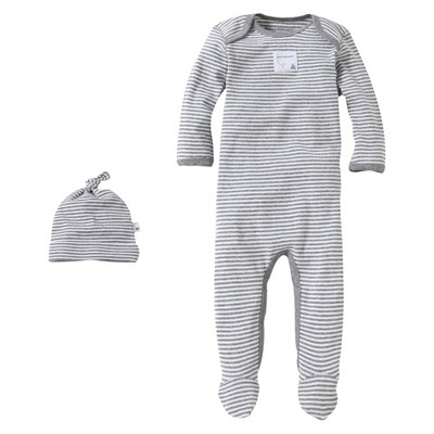 Burts Bees Baby™ Newborn Neutral Stripe Coverall and Hat Set - Grey 0-3 M