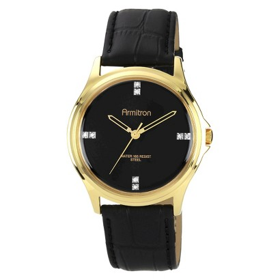 Men's Armitron Crystal Accented Leather Strap Watch