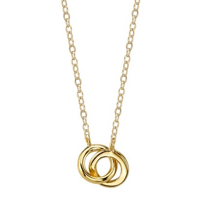 Footnotes Sterling Silver Link Circle Station Necklace - Gold