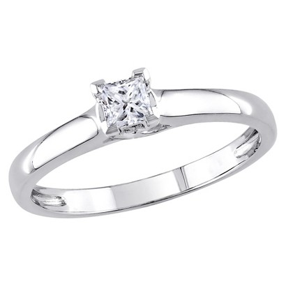 ¼ CT. T.W. Princess-Cut Diamond Solitaire Prong Set Ring in 14K White Gold (I1-I2) IGL Certified