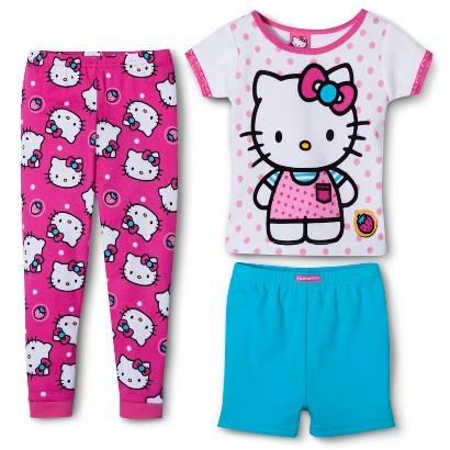 Hello Kitty Toddler Girls' 3-Piece Short-Sleeve Pajama Set