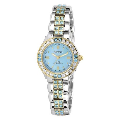 Armitron Women's Blue Swarovski Crystal Accented Watch - Gold/Silver