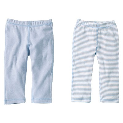 Burts Bees Baby™ Newborn Boys' 2 Pack Solid/Print Pant - Sky 3-6 M