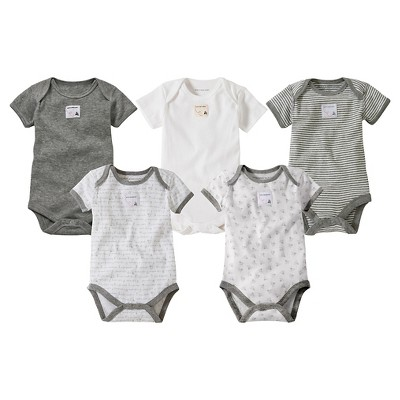 Burts Bees Baby™ Newborn Neutral 5 Pack Short-sleeve Bodysuit - Heather Grey 6-9 M