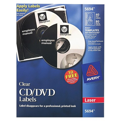 Avery® Laser CD/DVD Labels - White (40 Per Pack)